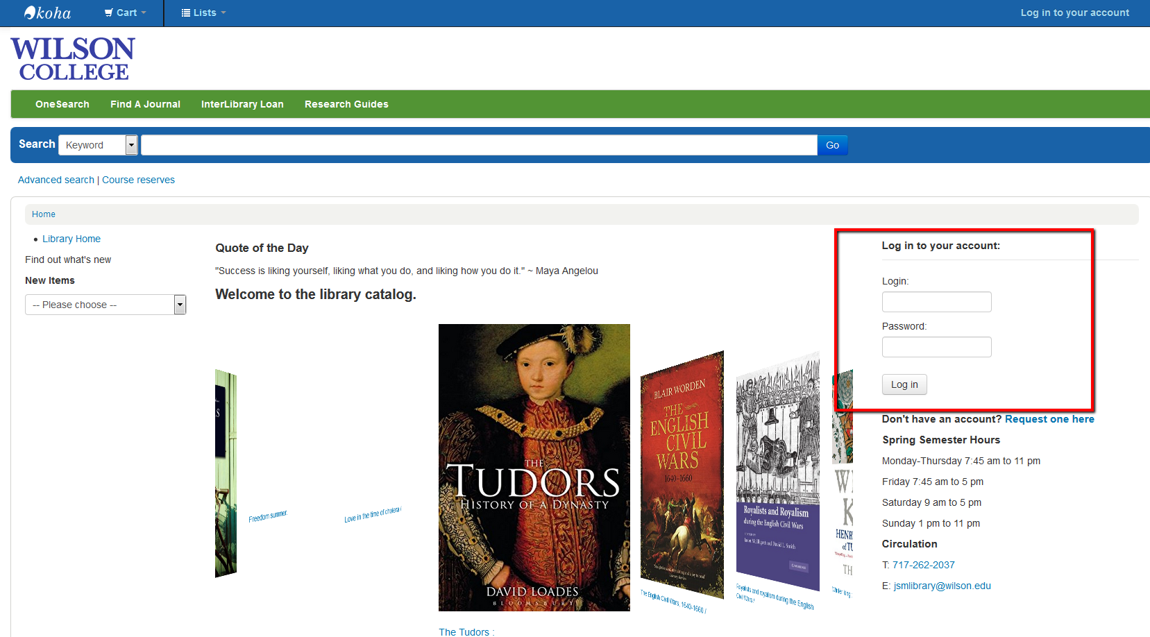 Screenshot of the library catalog homepage with the login boxes outlined in red.