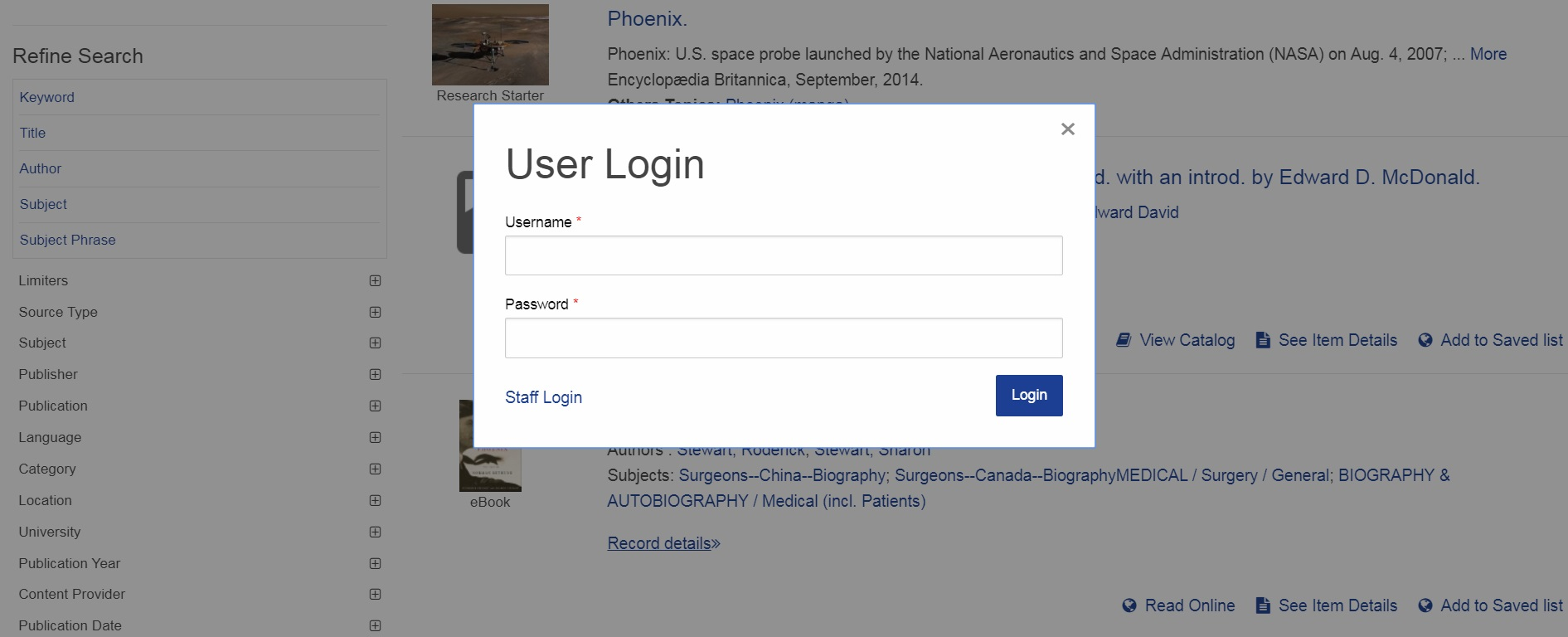 Screenshot of OneSearch with User Login window